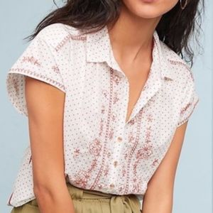 Anthropologie Maeve Floral Embroidered Tunic